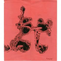 gouache signée au stylo de Patrice Hugues, 1968