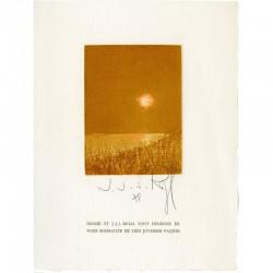 gravure originale en 4 couleurs de J.-J.-J. Rigal pour une carte de Joyeuses Pâques