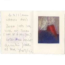 dessin au pastel gras, collé sur papier Arches, envoyé pour ses vœux par Yves Alcaïs à Raoul Jean Moulin, 2000