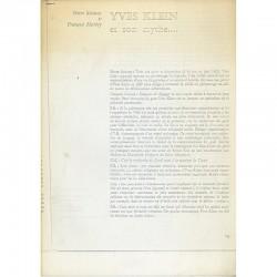 """""""Yves Klein et son mythe"""", article de 1965, dialogue entre Pierre Restany et François Mathey"""