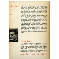 """exemplaire de service de presse du livre """"le Parc"""" de Philippe Sollers"""