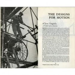 """""""The Design for Motion"""" interview par Laura Mathews  de Jean Tinguely, The Paris, Review, 1965"""
