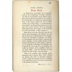 """exemplaire en Service de Presse du livre d'Arthur Adamov """"Paolo, Paoli"""", 1957"""
