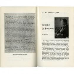 """interview de Simone de Beauvoir par Madeleine Gobeil """"The Art of Fiction"""" illustrée d'un portrait par Gisèle Freund"""