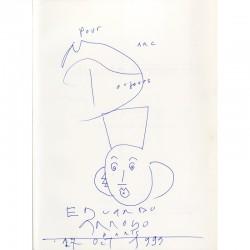 Dédicace avec dessin d'Arroyo au stylo bleu