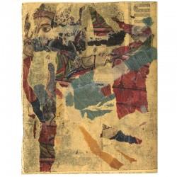 collage de Yolande Fièvre, éléments déchirés collés entre une feuille de papier adhésif