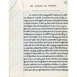 """""""On cherche les flammes"""", manuscrit d'Antoine Blondin, 1982"""