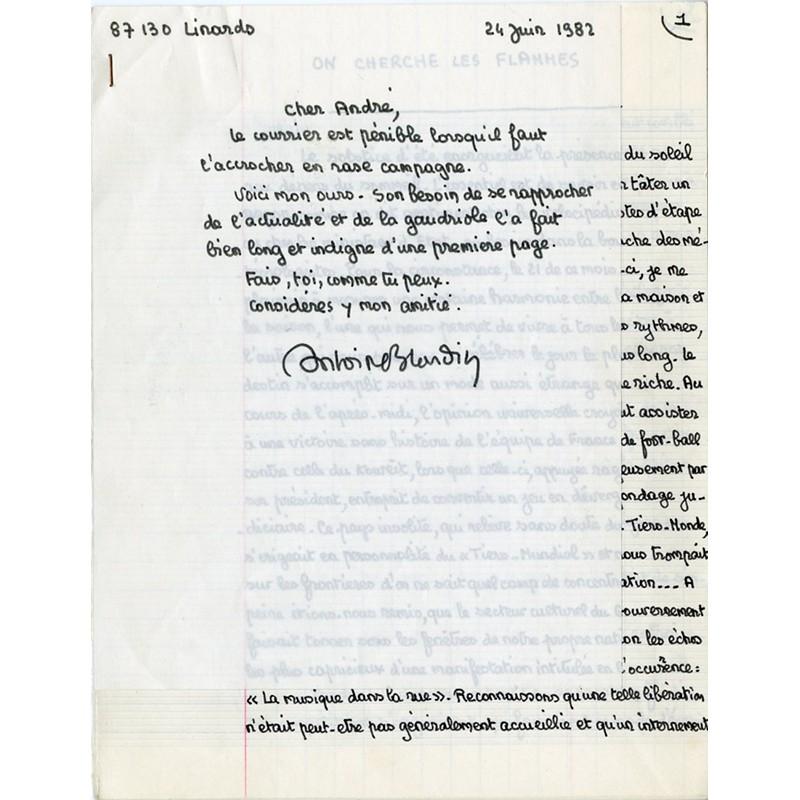 manuscrit envoyé par Antoine Blondin à André Parinaud le 24 juin 1982