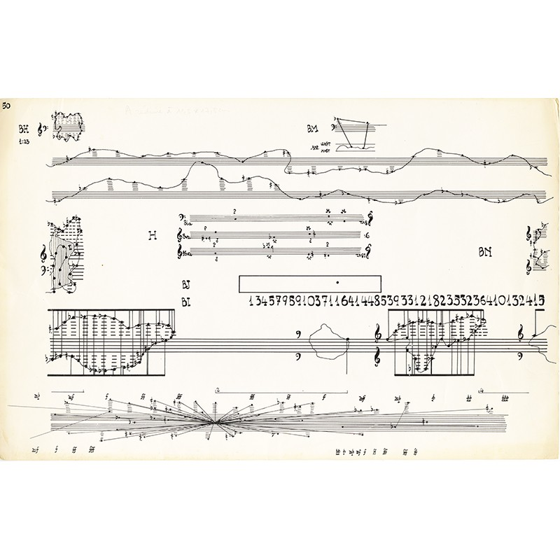 """Planche n° 50 de John Cage """"Concert for Piano and Orchestra. Solo for Piano """"For Elaine de Kooning"""" (1958)"""""""