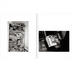 Double page du livre de Bernard Plossu, sur Isidore Isou aux éditions Marval, 2015