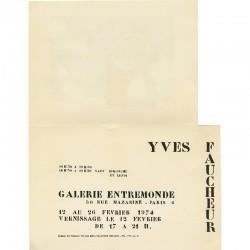 carton d'invitation pour l'exposition d'Yves Faucheur à la galerie Entremonde, Paris, en 1974