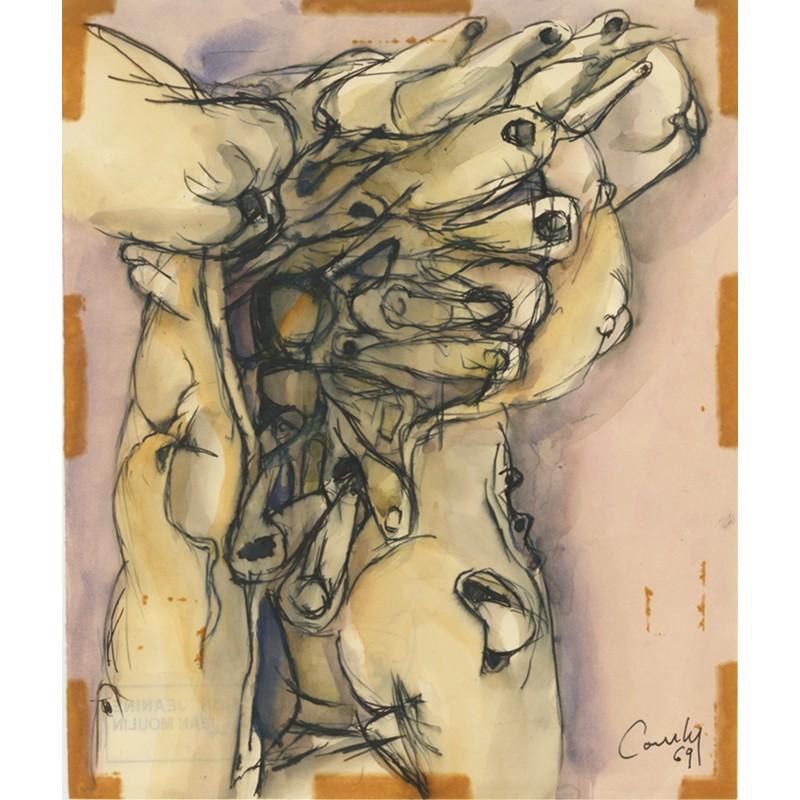 dessin à l'encre et l'aquarelle offert par Henri Comby à Raoul-Jean Moulin, 1969