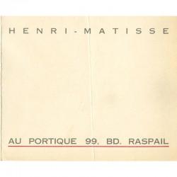 carton d'invitation pour l'exposition d'Henri Matisse à la galerie Au portique, Paris, 1929