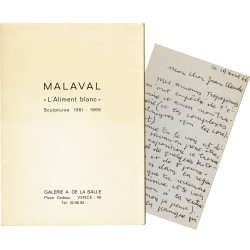 carton d'invitation et lettre-carte de Robert Malaval, 1966 à Jean-Claude Farhi