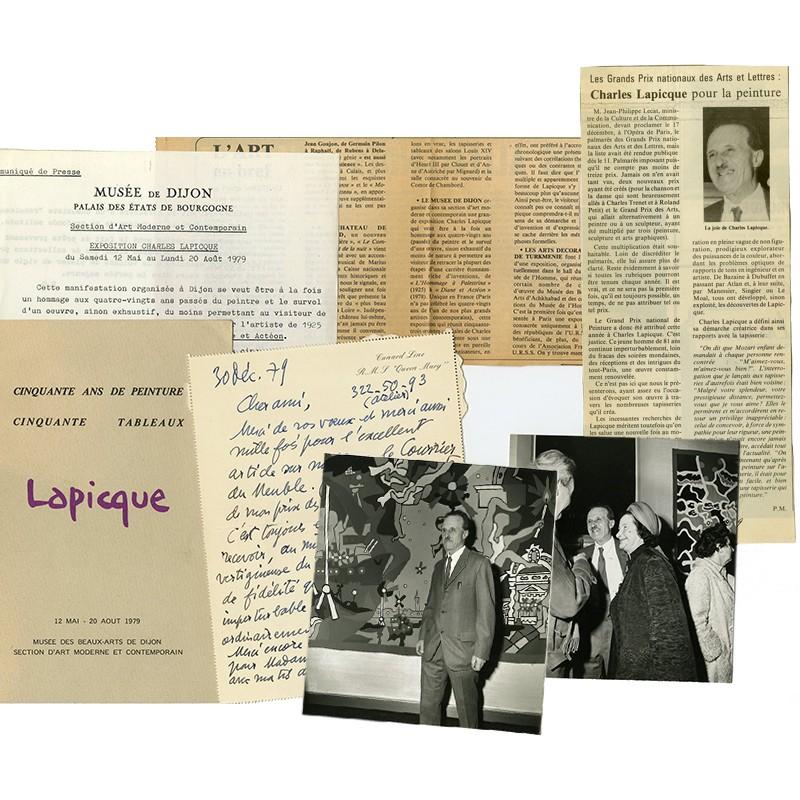lot de documentation réuni par Pierre Masteau sur Charles Lapicque