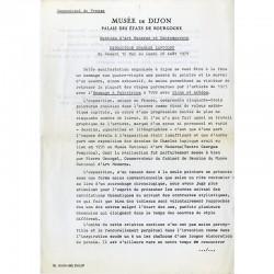 le communiqué de presse de l'exposition Lapicque, au Musée des Beaux-Arts de Dijon, en 1979