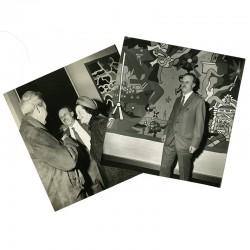 2 photographies prises lors du vernissage de Charles Lapicque et son épouse, du photographe Raymond Vénifleis