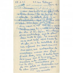 Recto d'une lettre autographe de Minou Drouet de 1956