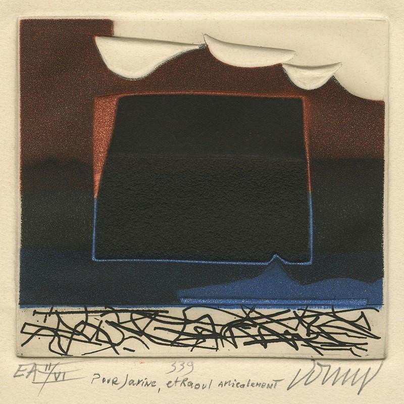 détail d'une gravure originale de Bertrand Dorny, épreuve d'artiste