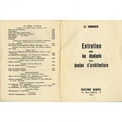 """exemplaire de service de presse du livre """"Entretien"""" de Le Corbusier, 1943"""
