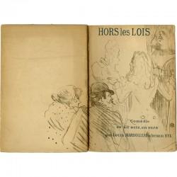"""lithographie de Toulouse-Lautrec, couverture du texte de """"Hors la loi"""" de Louis Marsolleau et Arthur Byl"""