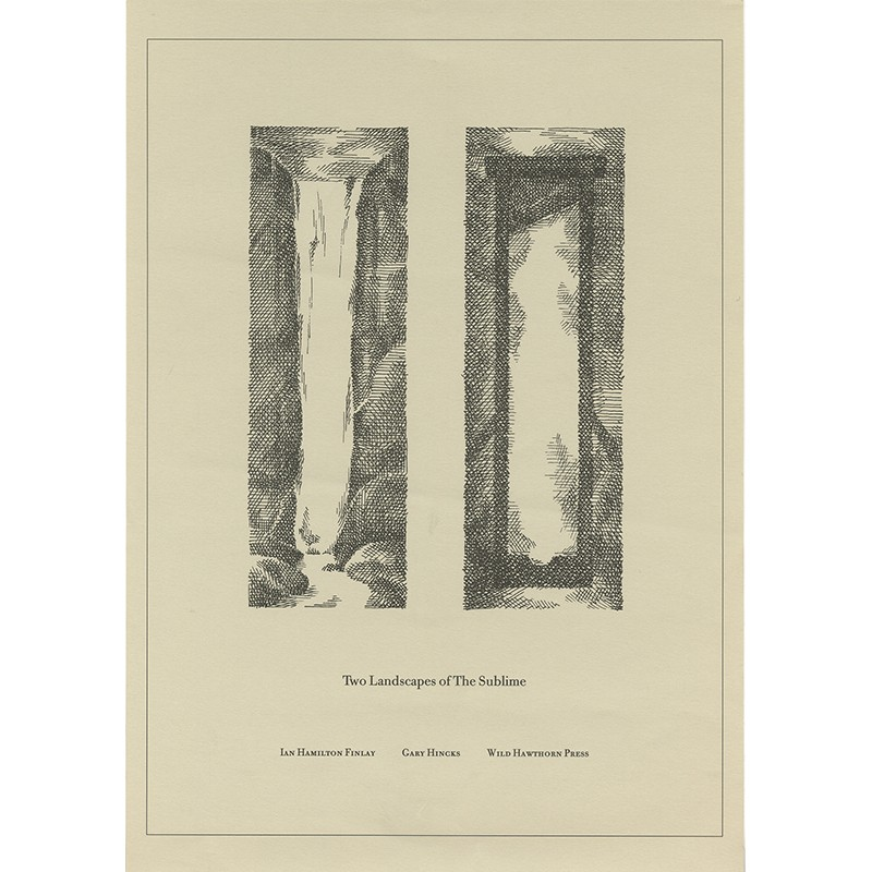 """Ian Hamilton Finlay """"Two landscapes of the sublime"""", Wild Hawthorn Press,1989"""