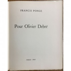 """Le livre de Francis Ponge """"Pour Oliver Debré"""" 1963"""