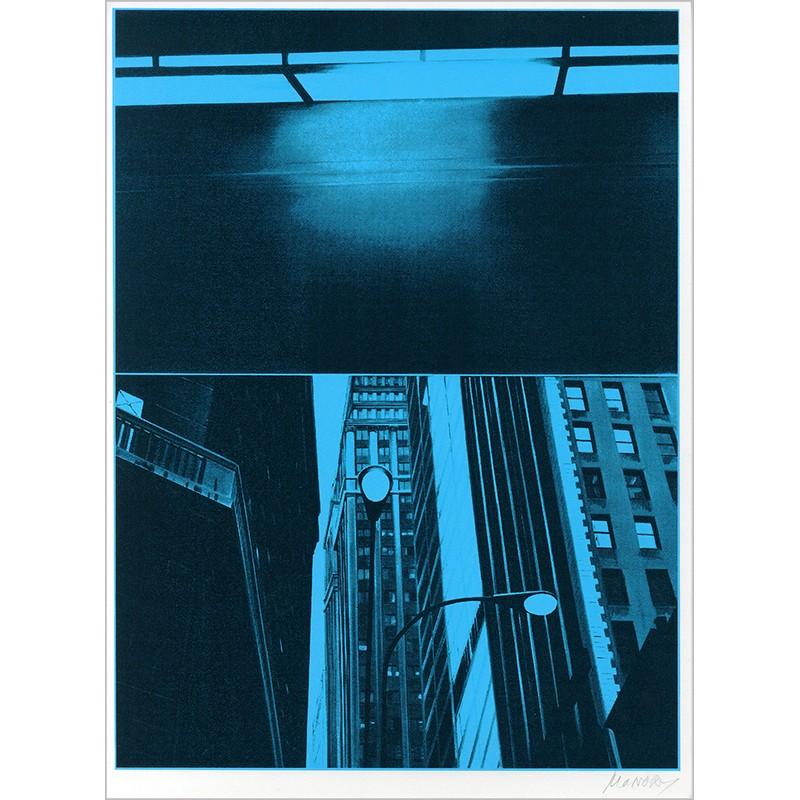 """Sérigraphie originale """"Cinéma"""" de Jacques Monory extraite du livre """"USA 76. Bicentenaire Kit"""" de Michel Butor et Jacques Monory"""