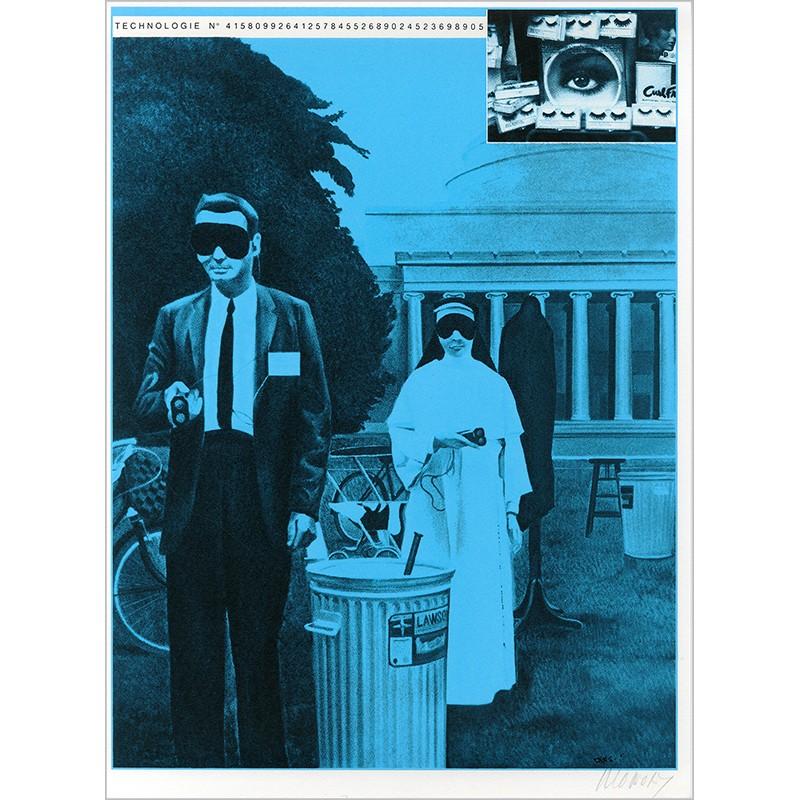 """Sérigraphie originale """"Masques"""" de Jacques Monory extraite du livre """"USA 76. Bicentenaire Kit"""" de Michel Butor et Jacques Monory"""