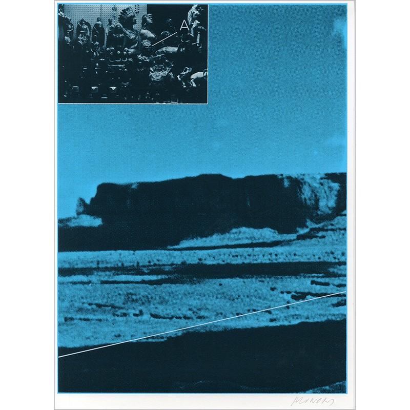 """Sérigraphie originale """"Désert"""" de Jacques Monory extraite du livre """"USA 76. Bicentenaire Kit"""" de Michel Butor et Jacques Monory"""