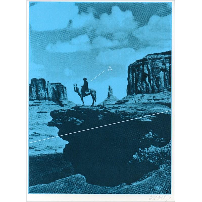 """Sérigraphie originale """"Rocher"""" de Jacques Monory extraite du livre """"USA 76. Bicentenaire Kit"""" de Michel Butor et Jacques Monory"""