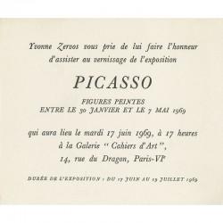 invitation d'Yvonne Zervos  pour l'exposition de Picasso, galerie Cahiers d'Art, Paris, 1969