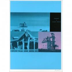 """Sérigraphie originale """"Hopper"""" de Jacques Monory extraite du livre """"USA 76. Bicentenaire Kit"""" de Michel Butor et Jacques Monory"""