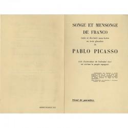 """bulletin de souscription pour l'ouvrage """"Songe et mensonge"""" de Franco"""" textes et eaux-fortes de Picasso"""