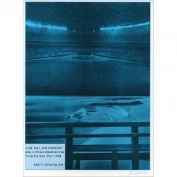 """Sérigraphie originale """"Stade"""" de Jacques Monory extraite du livre """"USA 76. Bicentenaire Kit"""" de Michel Butor et Jacques Monory"""
