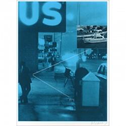 """Sérigraphie originale """"US"""" de Jacques Monory extraite du livre """"USA 76. Bicentenaire Kit"""" de Michel Butor et Jacques Monory"""
