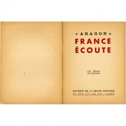 """""""France écoute"""" poèmes de Louis Aragon édités par la Revue Fontaine, 1944"""