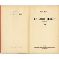 """Un des 500 exemplaires sur papier hélio du livre de poèmes de Paul Eluard """"Le livre ouvert (1939-1941)"""""""