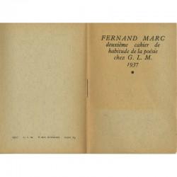 """poème de Fernand Marc """"Autres chansons"""", éditions G.L.M., Paris, 1937"""