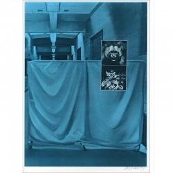 """Sérigraphie originale """"Hopital"""" de Jacques Monory extraite du livre """"USA 76. Bicentenaire Kit"""" de Michel Butor et Jacques Monory"""
