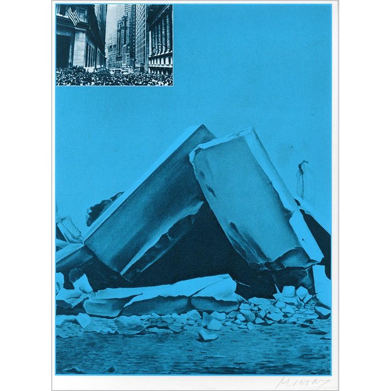 """Sérigraphie originale """"Ruine"""" de Jacques Monory extraite du livre """"USA 76. Bicentenaire Kit"""" de Michel Butor et Jacques Monory"""