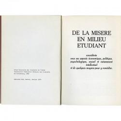 De la misère en milieu étudiant, Union nationale des étudiants de France, éditions Zoé, Genève, 1975
