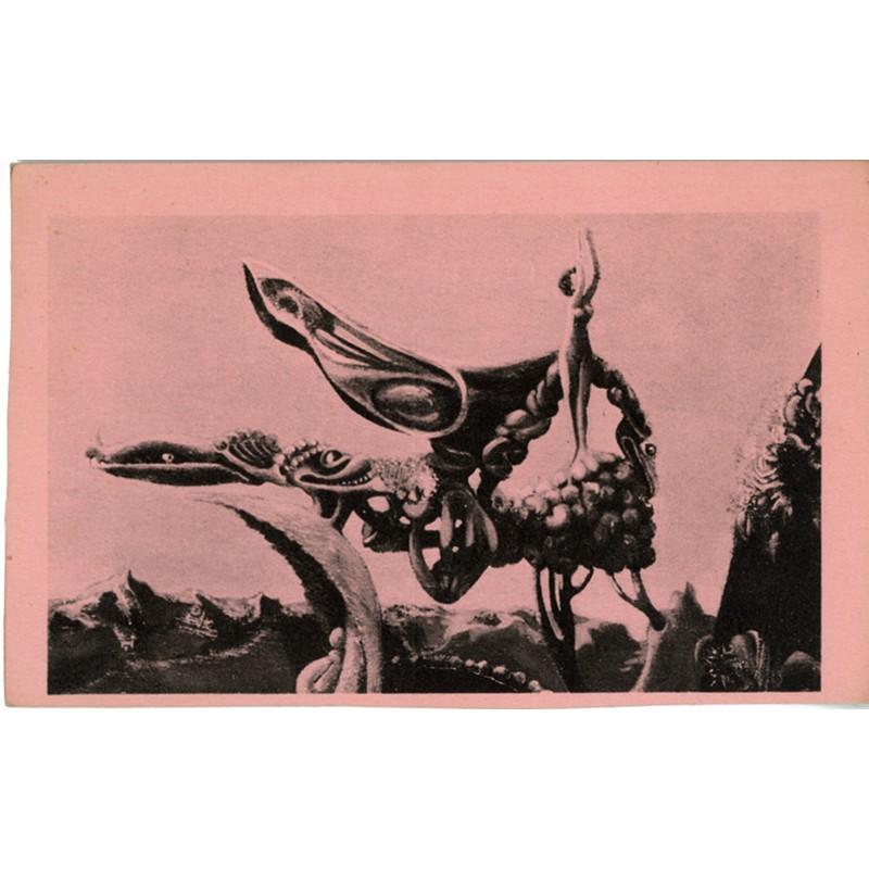 carte postale surréaliste de Max Ernst éditée par Georges Hugnet en 1937