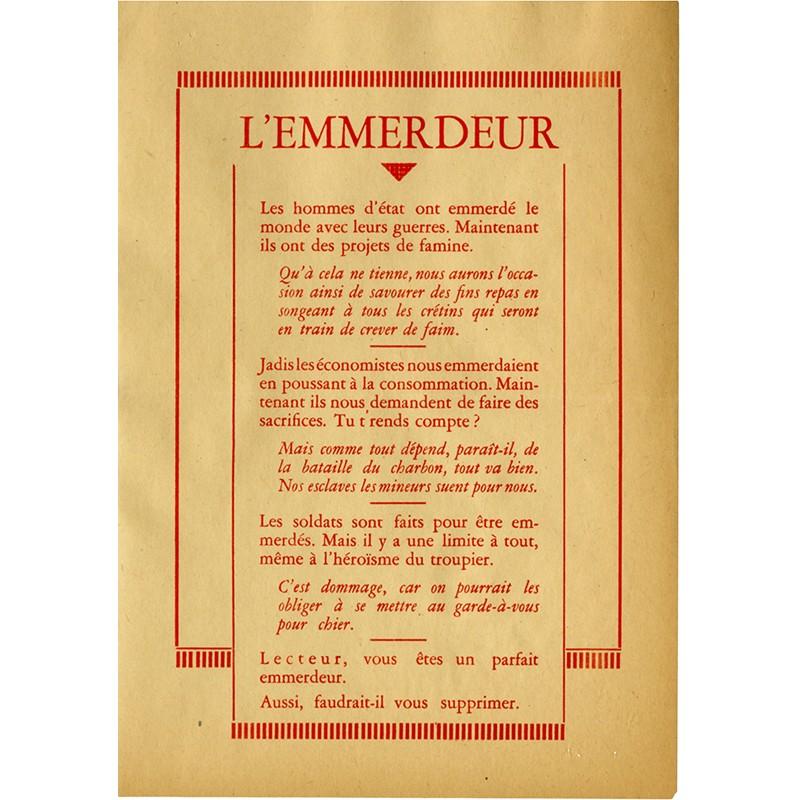 René MAGRITTE et Marcel MARIËN, L'emmerdeur, tract surréaliste, 1946