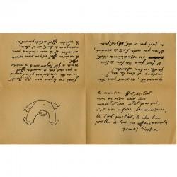 reproduction d'un texte manuscrit avec dessin de Francis Picabia pour Pierre-André Benoit (PAB), en décembre 1950