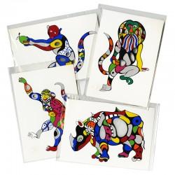de 4 cartes postales sérigraphiées avec découpes, dessinées par Niki de Saint, 2000