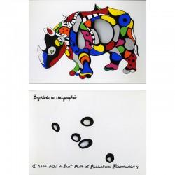 "Niki de Saint Phalle, carte postale sérigraphiée, ""rhinocéros"", 2000"