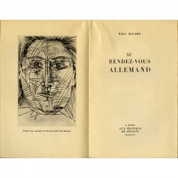 """frontispice d'après une eau-forte de Pablo Picasso pour """"Au rendez-vous allemand"""" de Paul Eluard"""