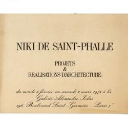 """carton d'invitation Niki de Saint Phalle """"Projets et réalisations d'architecture"""", galerie Alexandre Iolas, 1974"""