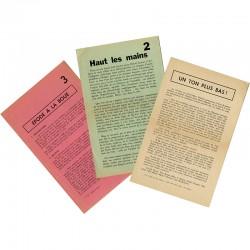 """Tom Gutt, ensemble de 3 tracts : """"Un ton plus bas !"""" (1962) """"Haut les mains"""" et """"Épode à la boue"""" (1963)"""